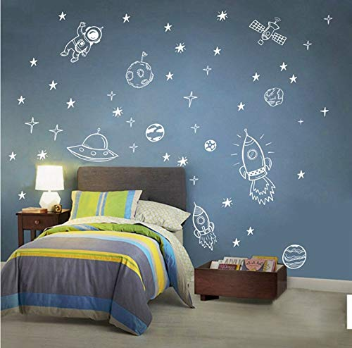 Cohete astronauta Creative vinilo etiqueta de la pared para la decoracion de la habitacion de niño el espacio ultraterrestre Wall Decal Nursery Kids Bedroom decor NR13 65x42cm