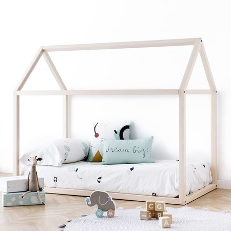 Mini Cama Casita Madera Natural Haya 1